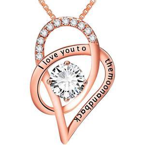 Blue Pearls Anhnger Ich liebe dich zu den Folly Kristall Swarovski Elements und 925 Silber vergoldet Rose Gold