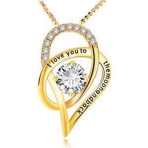 Blue Pearls Anhnger Ich liebe dich zu den Folly Kristall Swarovski Elements und 925 Silber GelbGold plattiert