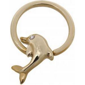 14 Karat Gold Nipple Brustwarzen Piercing Ring Delfin mit Glasstein