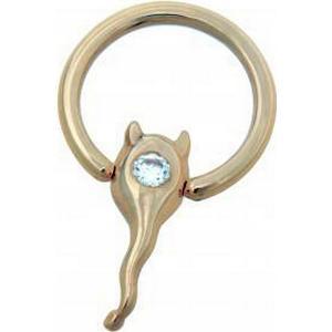 14 Karat Gold Nipple Brustwarzen Piercing Ring Raute mit Glasstein