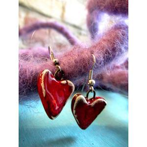 2 Herzchen - Keramik Ohrringe