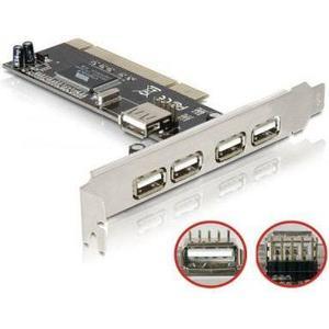 Delock USB2.0 PCI Karte, 4+1 Port