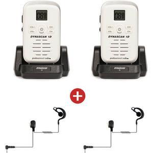 4.70 Pack: 2er Set Dynascan 1D (weiß) + 2 Ohrhaken Headsets