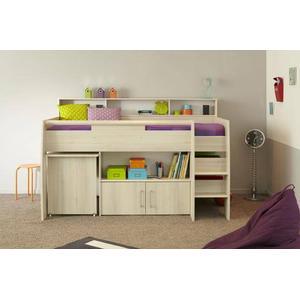 90x200 Hochbett mit ausziebarem Schreibtisch und Kommode