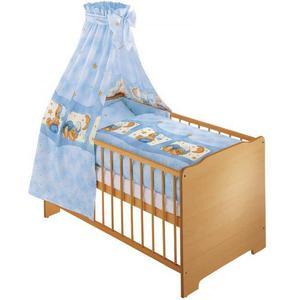 100x135 Baby Bettset 4tlg. Kuschelbär Blau