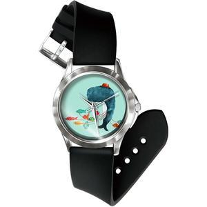 Blue Pearls Mixed Wal Uhr und Armband Silikon schwarz