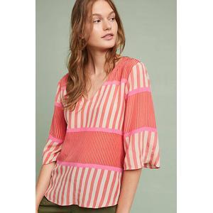 Anupamaa Striped Silk Blouse - Pink