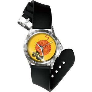 Blue Pearls Mixed Katze Uhr und Armband Silikon schwarz