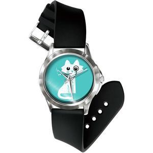 Blue Pearls Mixed Katze Detektiv Uhr und Armband Silikon schwarz