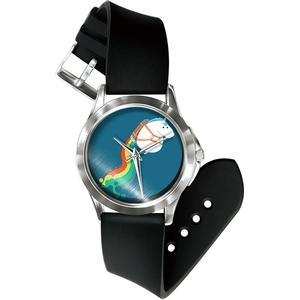 Blue Pearls Mixed Einhorn Uhr und Armband Silikon schwarz