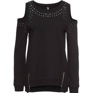 RAINBOW Sweatshirt mit Cut-Outs langarm in schwarz für Damen von bonprix