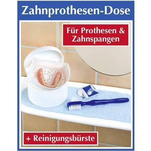 - Zahnprothesen- Dose + Reinigungs-Bürste