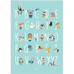Julica Poster zur Kinderzimmer-Deko ´´ABC´´ (50 x 70 cm) inkl. Memory-Spiel zum Ausschneiden in mint