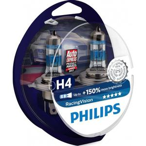 Philips H4 RacingVision Halogen Lamps 55W P43t-38 2-pack
