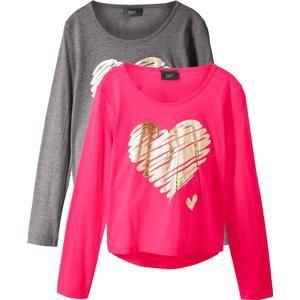 bpc bonprix collection Langarmshirt (2er-Pack) in grau für Mädchen von bonprix