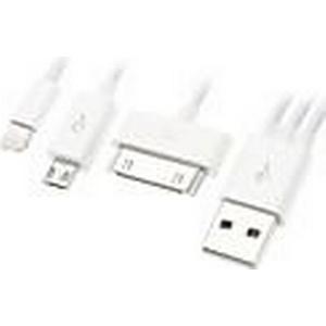 3-in-1 USB-Daten-und Ladekabel für Samsung Handys und iPhone (versch. Farben, 0,4 M)