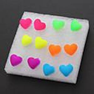(6 Paare) Fashion (Herz) Multicolor Silicon Ear Piercings