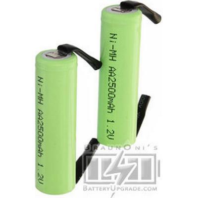 Babyliss 2x AA battery med solder tabs (2500 mAh, Laddningsbar)
