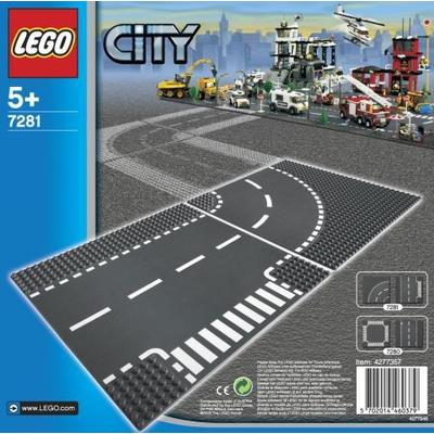 Lego City T-Junction & Curved Road Plates 7281