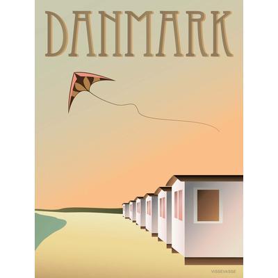 Vissevasse Denmark Beach Huts 30x40cm Affisch