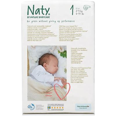 Naty Eco Nappies Size 1 Newborn, 2-5kg, 26 pcs