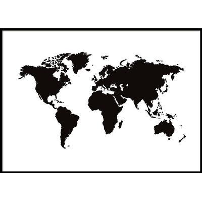 Världskarta, svartvit (70x100) poster