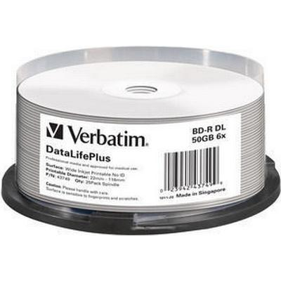 Verbatim BD-R No ID Brand 50GB 6x Spindle 25-Pack Wide Inkjet