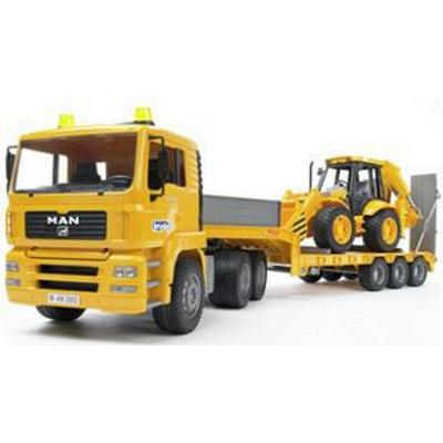 Bruder Man Tga Low Loader Truck With Jcb Backhoe Loader 02776