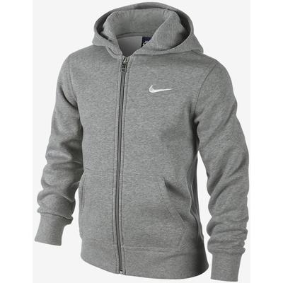 Nike Brushed Fleece Full-Zip - Dark Grey Heather / White (619069_063)