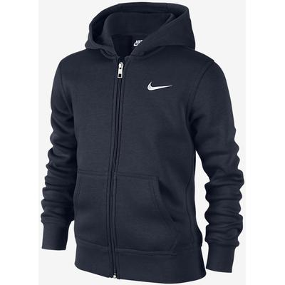 Nike Brushed Fleece Full-Zip - Obsidian / White (619069_451)