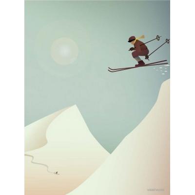 Vissevasse Skiing 50x70cm Affisch
