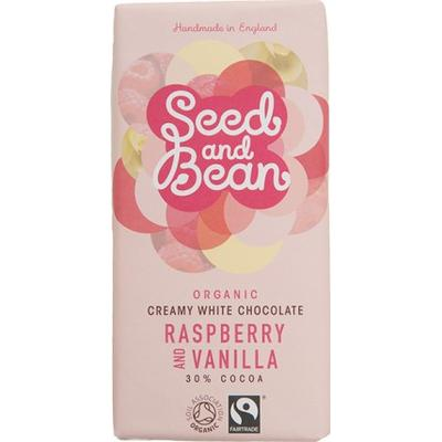 Seed and Bean Organic Raspberry and Vanilla Creamy White Chocolate Bar