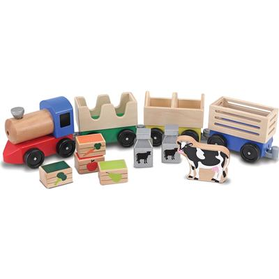 Melissa & Doug Wooden Farm Train Toy Set