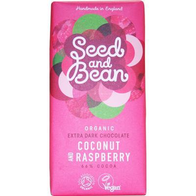 Seed and Bean Organic Coconut & Raspberry Extra Dark Chocolate Bar