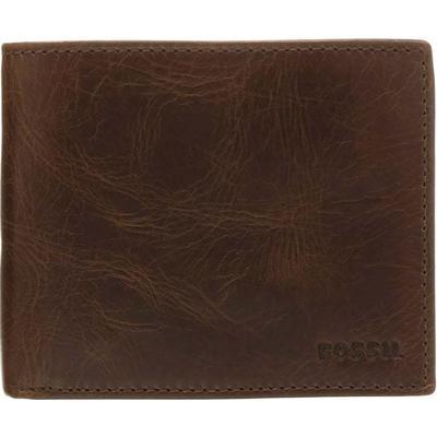 Fossil Derrick RFID Large Coin Pocket Bifold - Dark Brown (ML3687P)