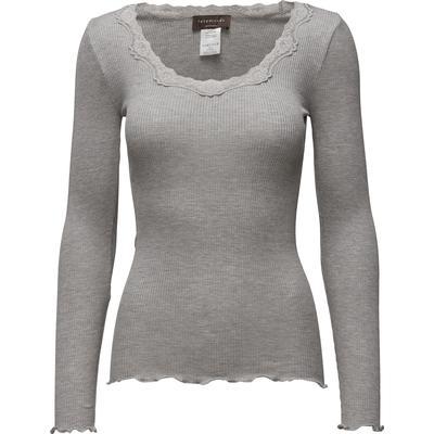 Rosemunde Silk T-Shirt Regular LS W/Rev Vinta - Light Grey Melange (5369)