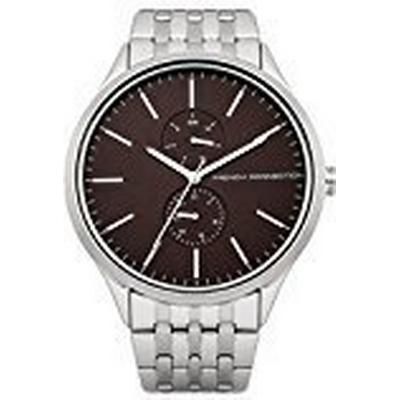 French Connection Men's Quartz Watch with Brown Dial Analogue Display and Silver Stainless Steel Bracelet FC1234TM