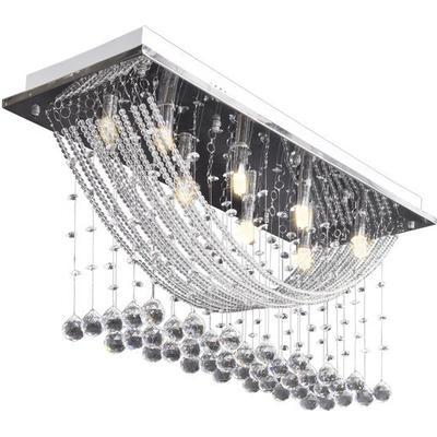 vidaXL White With Sparkling Glass Crystals Taklampa