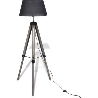 vidaXL Floor Lamp With A Fabric Shade On Adjustable Wooden Tripod Golvlampa
