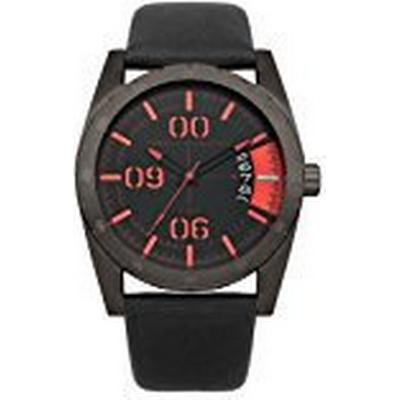 French Connection Men's Quartz Watch with Black Dial Analogue Display and Black Leather Strap Parkside