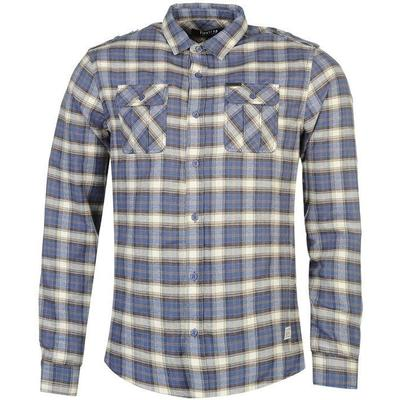 Firetrap Blackseal Flannel Shirt Blue/Brown (558798)