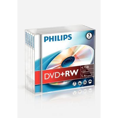 Philips DVD+RW 4.7GB 4x Jewelcase 5-Pack
