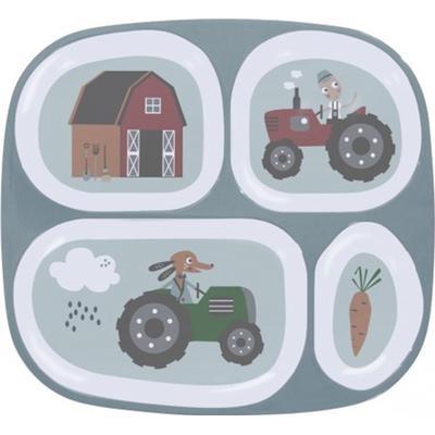 Sebra Melamine Plate w/4 Rooms Farm Boy