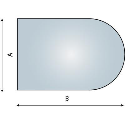 Vento Nordic Halvcirkel Glasplade Gulvplade 8mm 100x120cm