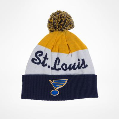 Reebok St Louis Blues Script Cuff Pom Knit Beanie