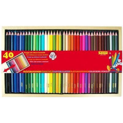 Sense Colouring Pencils Wooden Box 40-pack