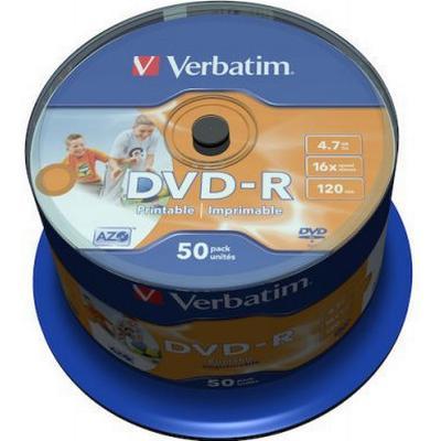 Verbatim DVD-R 4.7GB 16x Spindle 50-Pack Wide Inkjet
