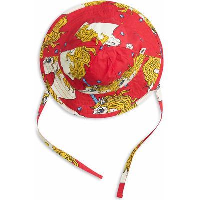 Mini Rodini Unicorn Star Sun Hat - Red