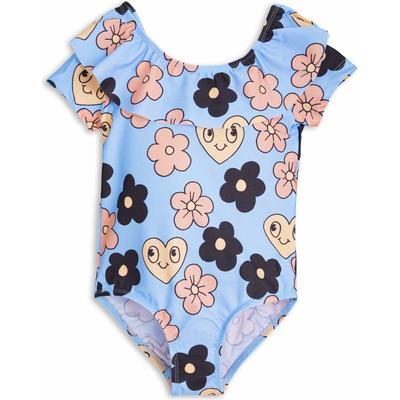 Mini Rodini Flower Ss Swimsuit - Light Blue
