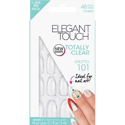 Elegant Touch Totally Bare Stiletto Nails #101 Clear 48-pack